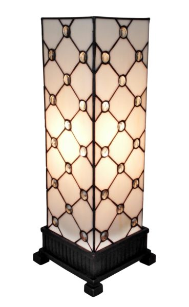 Elegant Tiffany Style Table Lamp White JEWEL 18 In