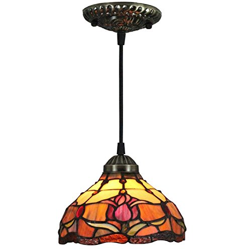 Tiffany Style Tulips Ceiling Hanging Lamp, 8-Inch