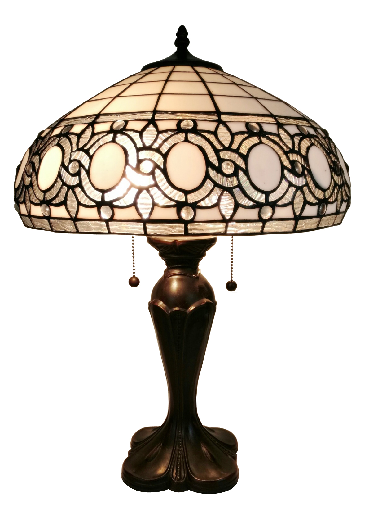 Tiffany Style White Table Lamp 24 In High