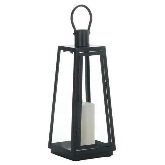 Tapered Black Metal Candle Lantern - 16 inches