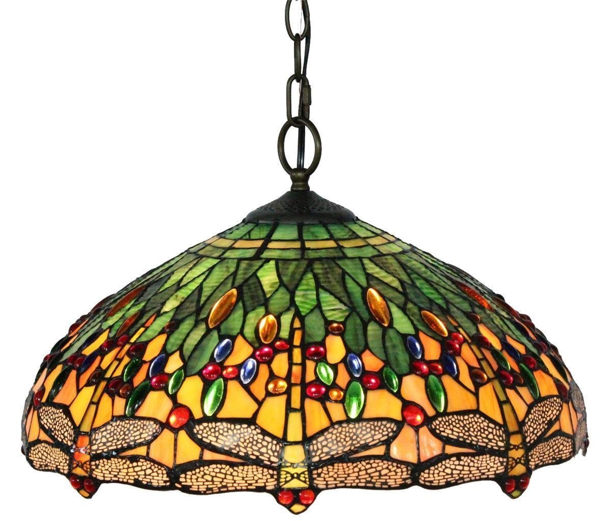Lamparas Color Glass Led Table Lamp Hand Made Tiffany Desk: Tiffany Style Dragonfly Hanging Lamp 18 Inches
