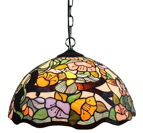 Tiffany Style Floral Hanging Lamp 2 Light 16 In Wide