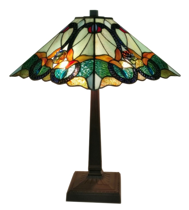 Tiffany Style Floral Mission Table Lamp 23 In High AM254TL14