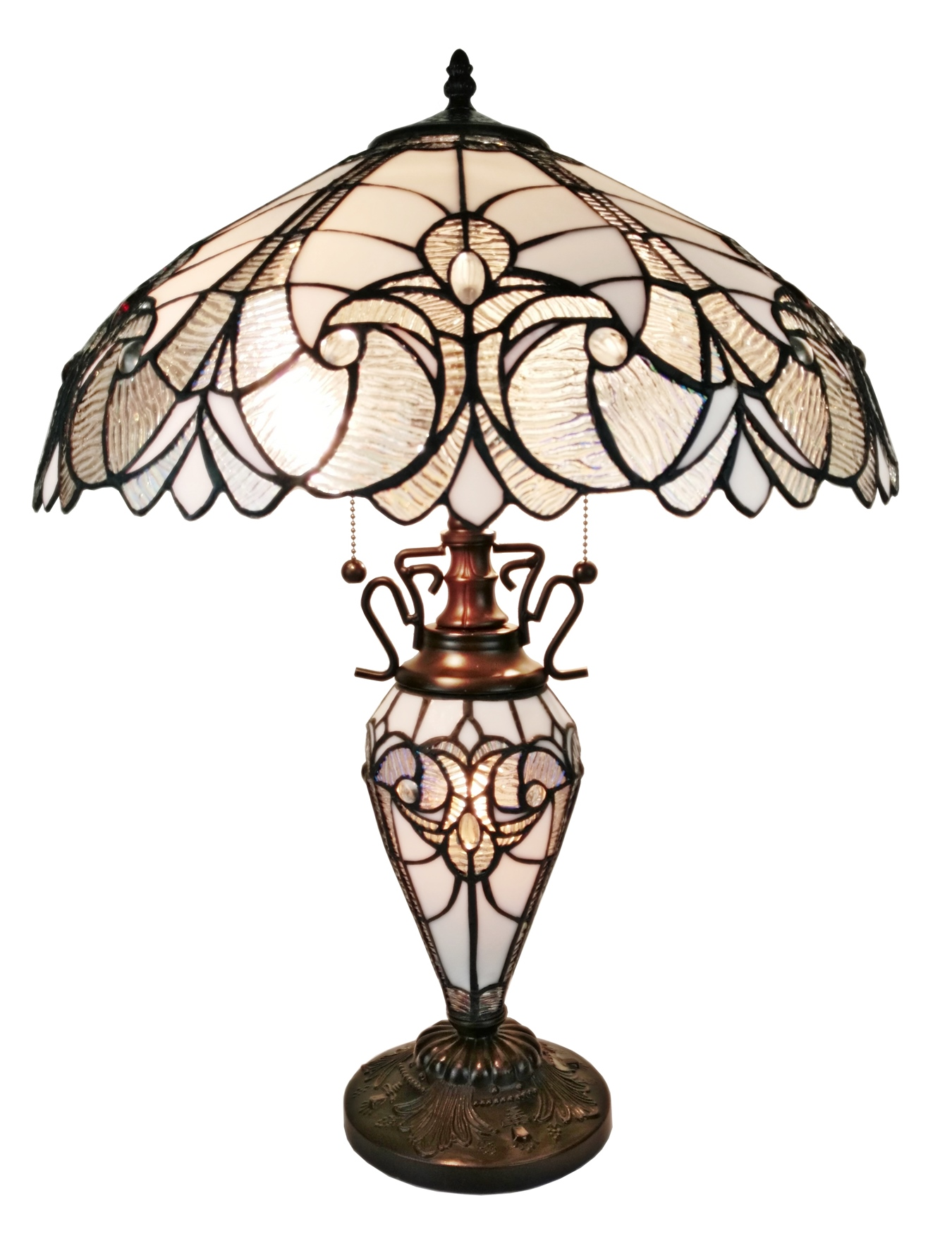 Tiffany Style Floral White Double Lit Table Lamp 23 Inches High