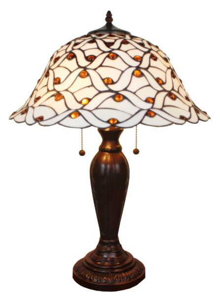 Tiffany Style Jeweled 26 Inches Table Lamp White