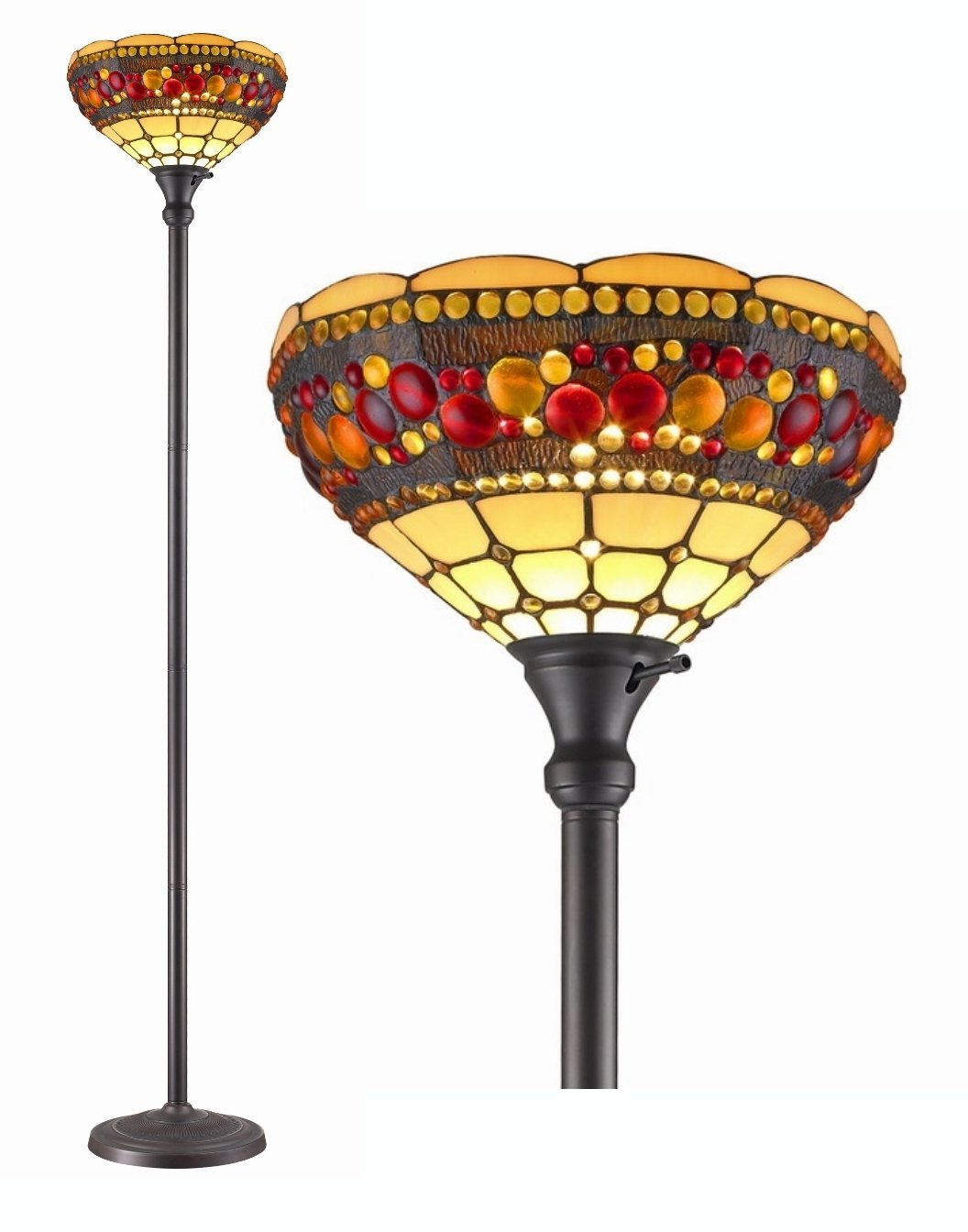 AM Tiffany Style Torchiere Jeweled Lamp 71 Inches Tall