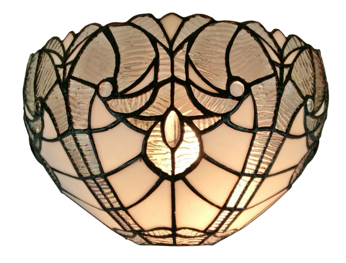 Tiffany Style White Floral Wall Sconce Lamp