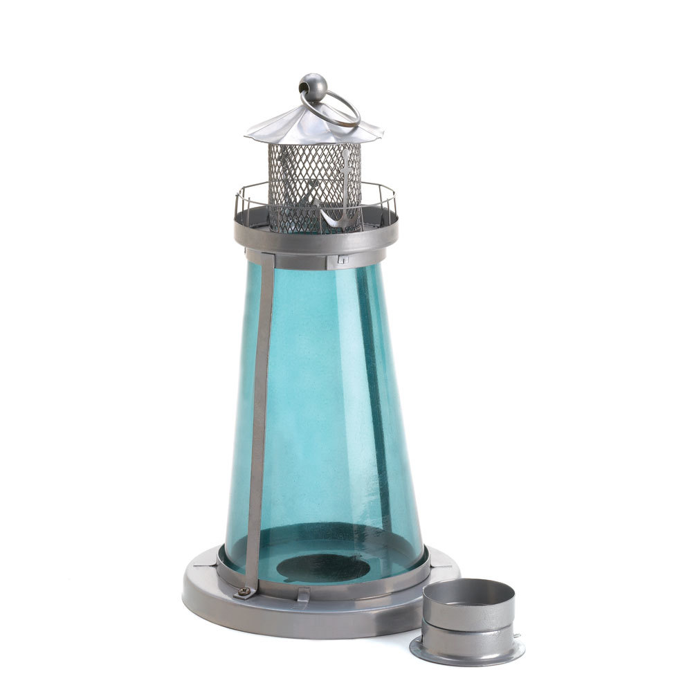 Tinted glass lighthouse candle lantern