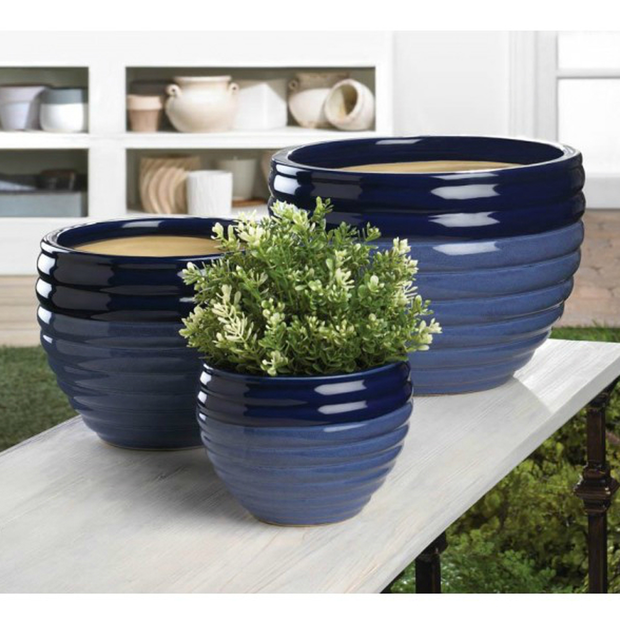 Two-Tone Blue Ceramic Planter Set