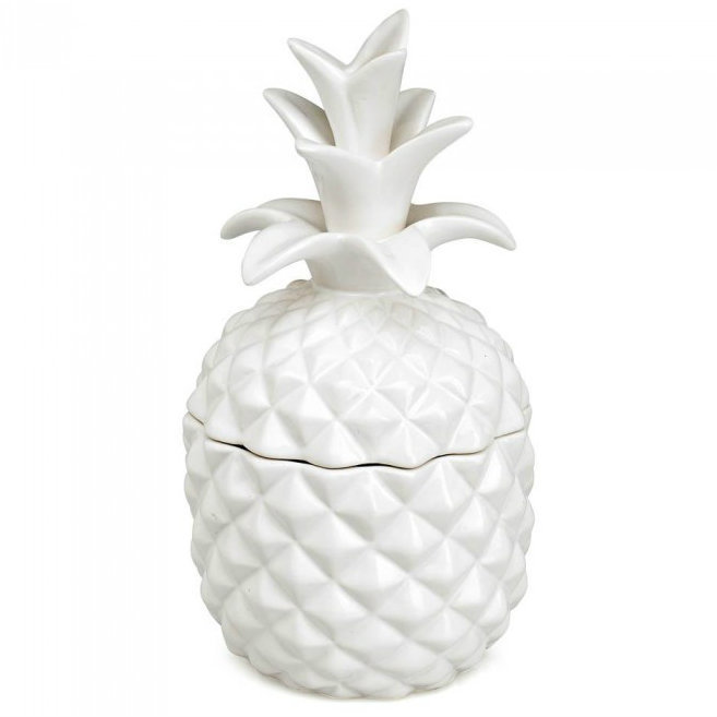 White Ceramic Pineapple Pina Colada-Scented Candle
