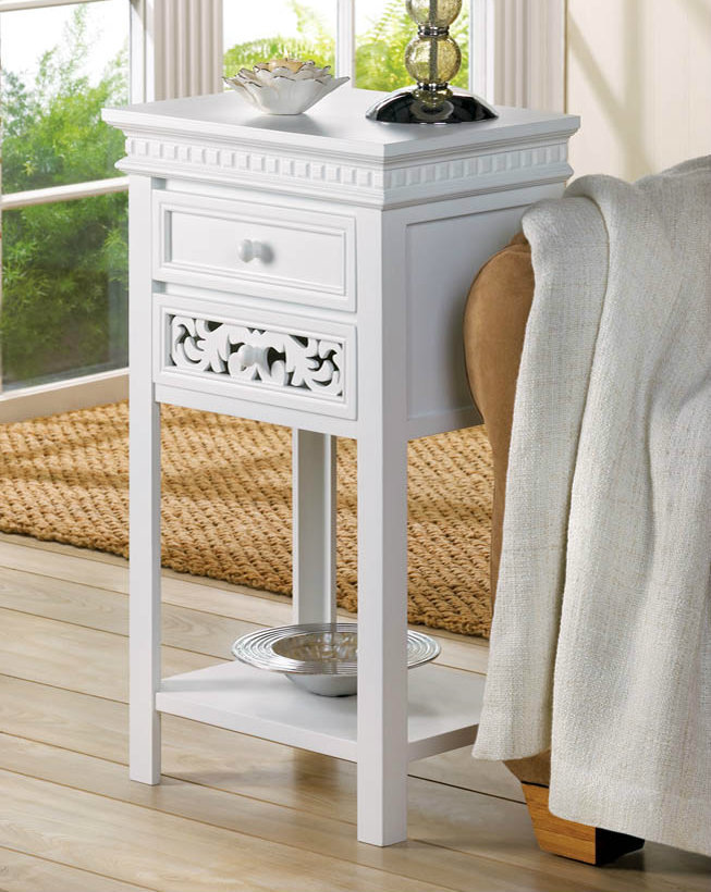 White Side Table with Double Drawers