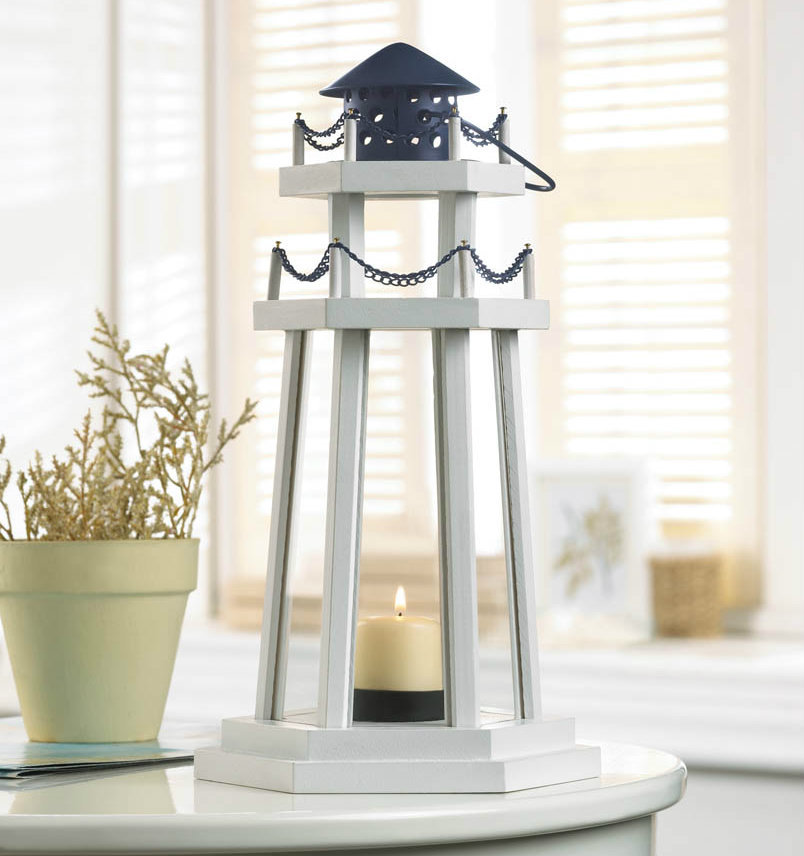 White Wood Lighthouse Candle Lantern