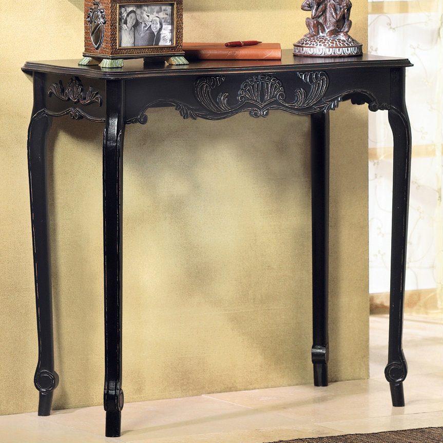 Wood Scallop Detail Hall Table - Black