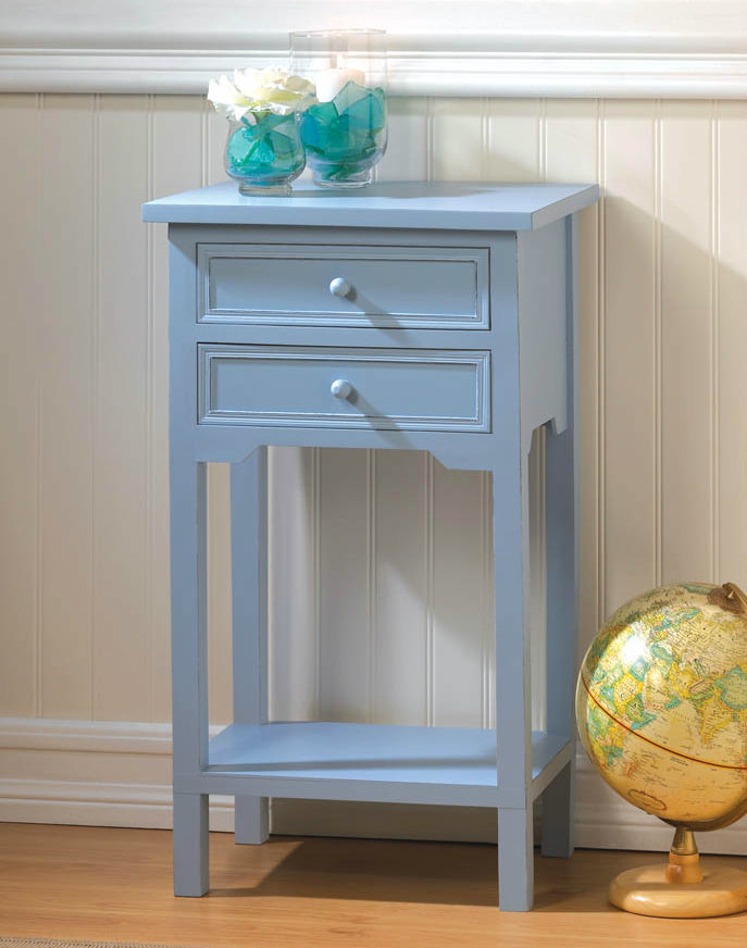 Wood Side Table with Two Drawers - Light Blue