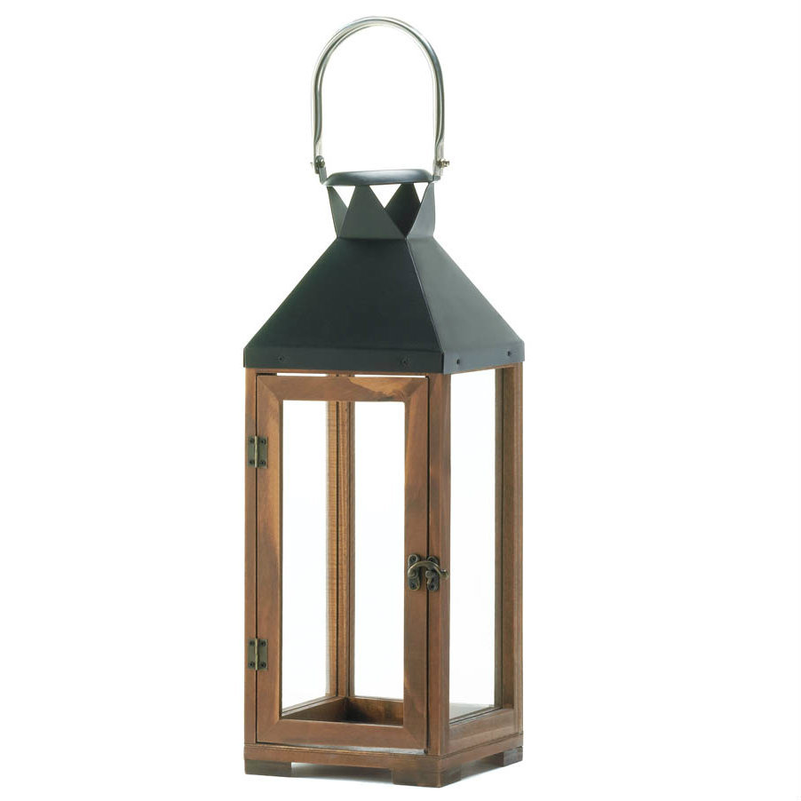 Wood and Metal Candle Lantern - 19 inches