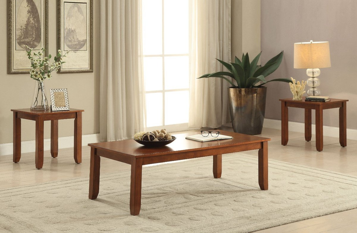 Wooden Coffee End Table Set 3 Piece Pack Cherry Brown