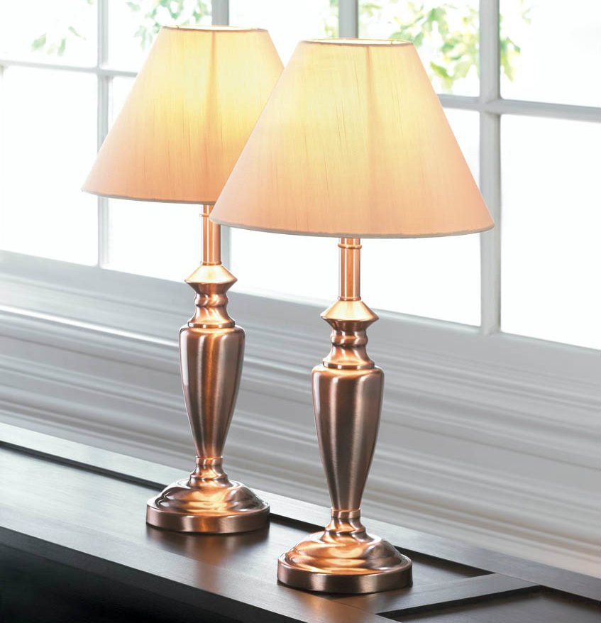 Copper-Look Antique-Style Lamp Set