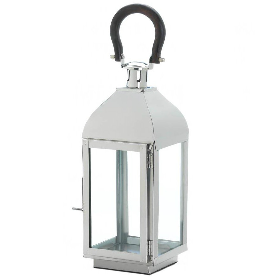 Sleek Steel Candle Lantern - 14 inches
