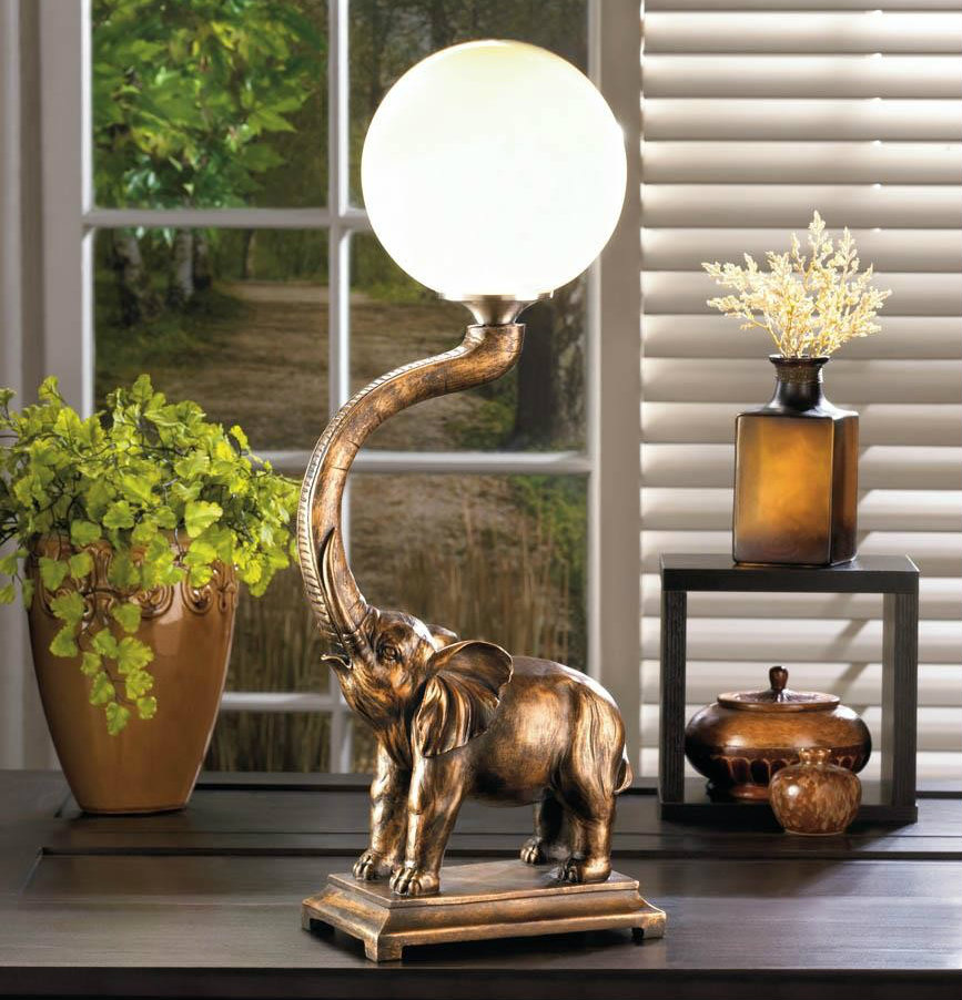 Trumpeting Elephant Globe Accent Lamp