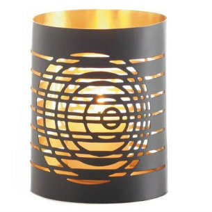 Circular Cutouts Metal Candle Holder - 4 inches
