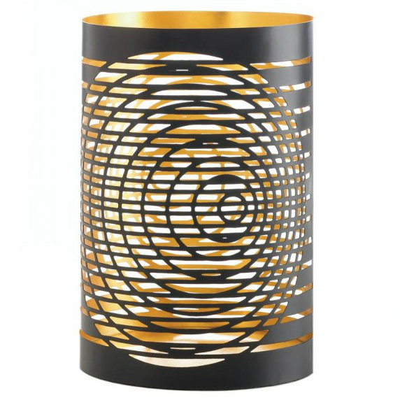 Circular Cutouts Metal Candle Holder - 8 inches