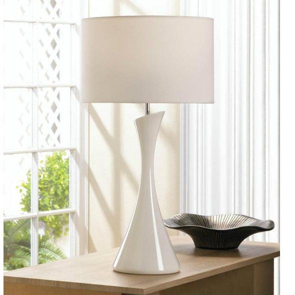sleek modern table lamp white. Black Bedroom Furniture Sets. Home Design Ideas