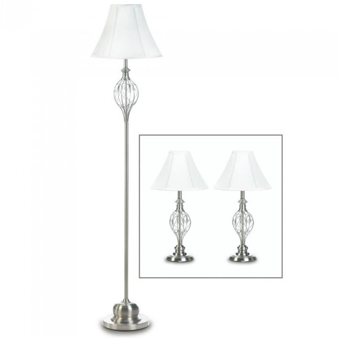 Silver Lamp Set of three with Scrollwork Detail