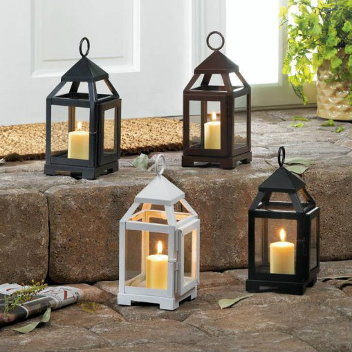 Contemporary Black Candle Lantern - 9 inches